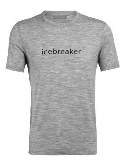 ICEBREAKER Mens Tech Lite SS Crewe Icebreaker Wordmark, Metro Hthr