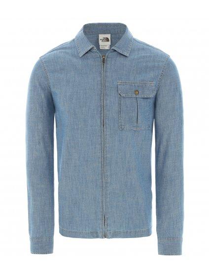 THE NORTH FACE M L/S Berkeley Zip Chambray Shirt Jacket, Medium Indigo Chambray