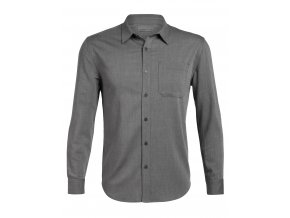 ICEBREAKER Mens Compass Flannel LS Shirt, Gritstone HTHR