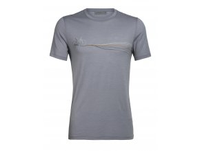 ICEBREAKER Mens Tech Lite SS Crewe Cadence Paths, Mineral