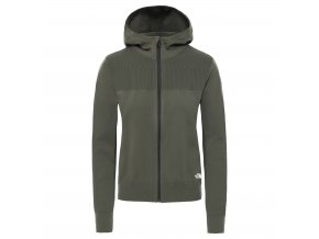 THE NORTH FACE W Active Trail E-Knit Full Zip Hoodie, New Taupe Green