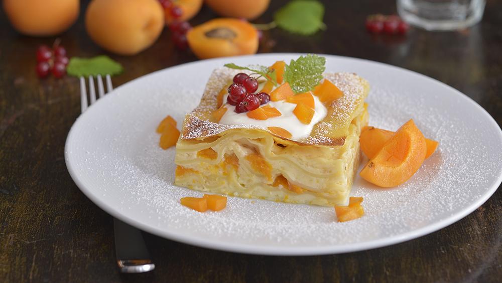 Lasagne s pudinkem a meruňkami