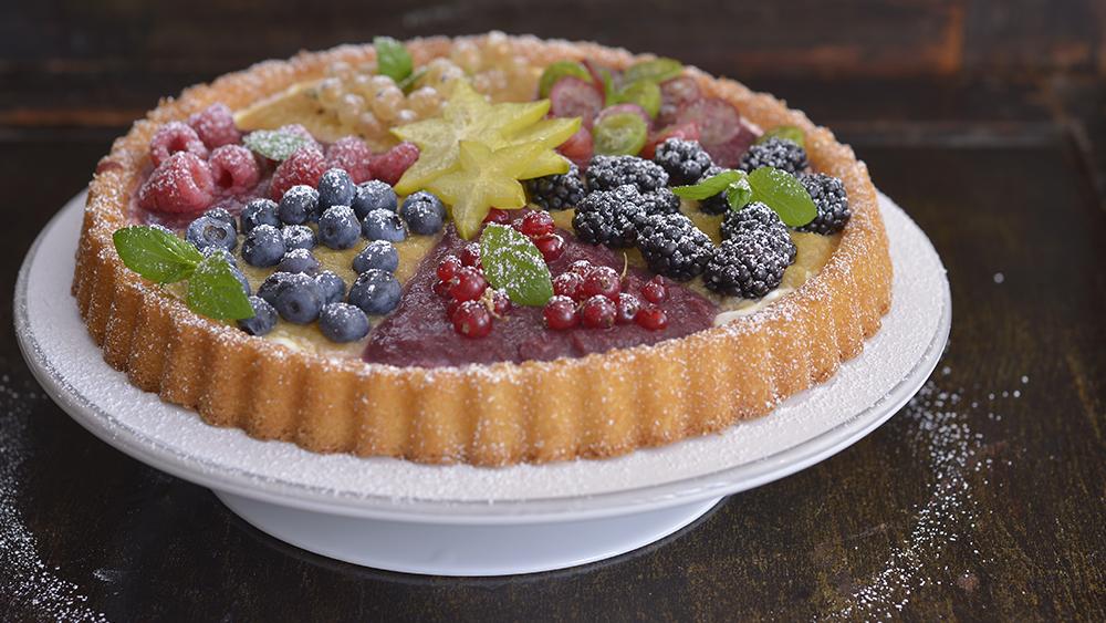 Ovocný koláč z piškotového těsta