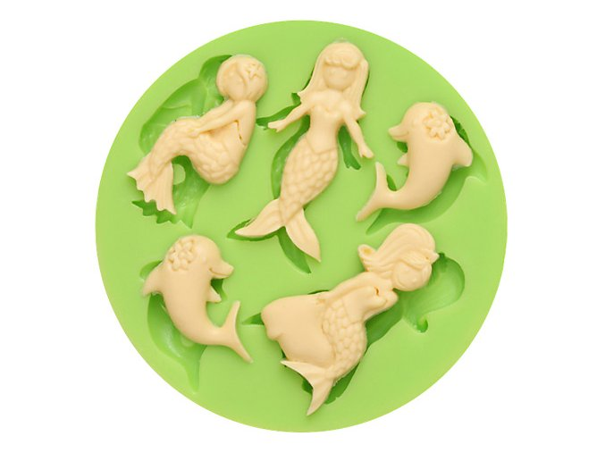 7ES 0704 Mermaids and Dolphins Round Silicone Molds Fondant Mould for cake decorating