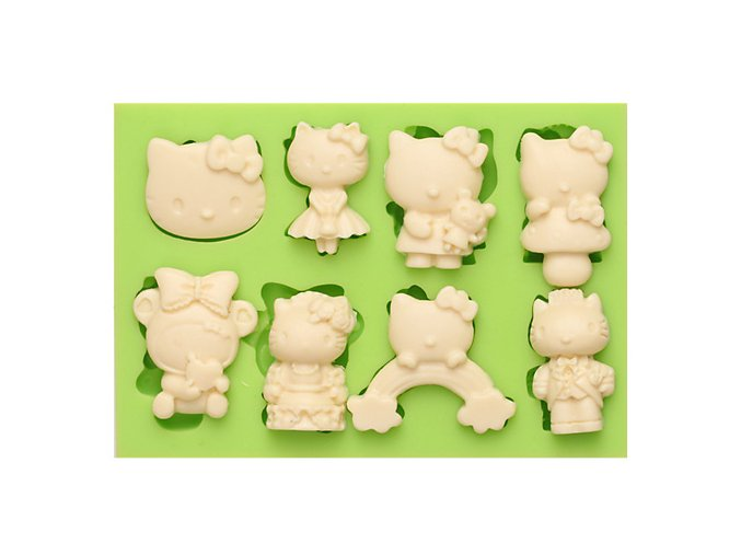 7ES 0804 8 Different Styles Hello Kitty Fondant Silicone Molds for cake decorating