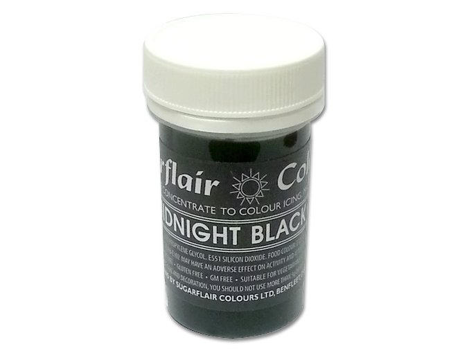 Pastelová gelová barva Sugarflair (25 g) Midnight Black