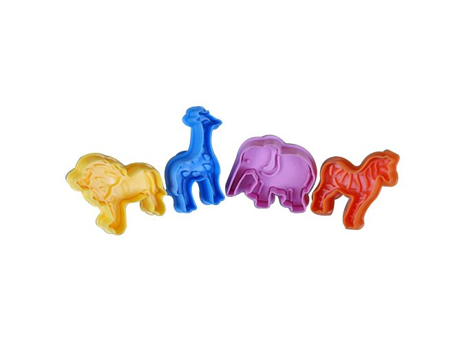 cp 205 strong food grade lion elephant zebra giraffe animal 4 pcs cookie cutter set