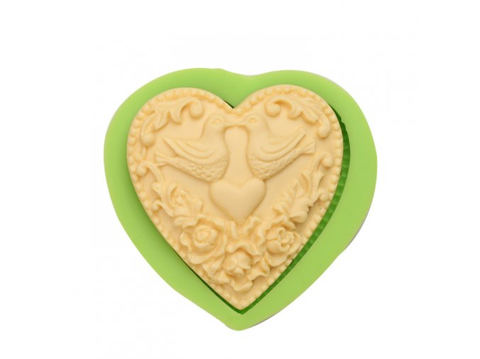 ES 1515 Love heart magpies Silicone Molds for Fondant Cake Decorating