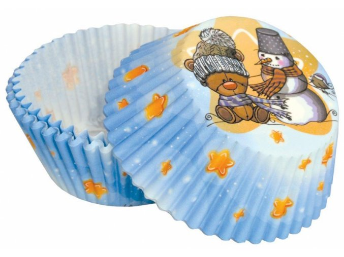 alvarak kosicky na muffiny c 92 modre s medvidkem a snehulakem 50 ks