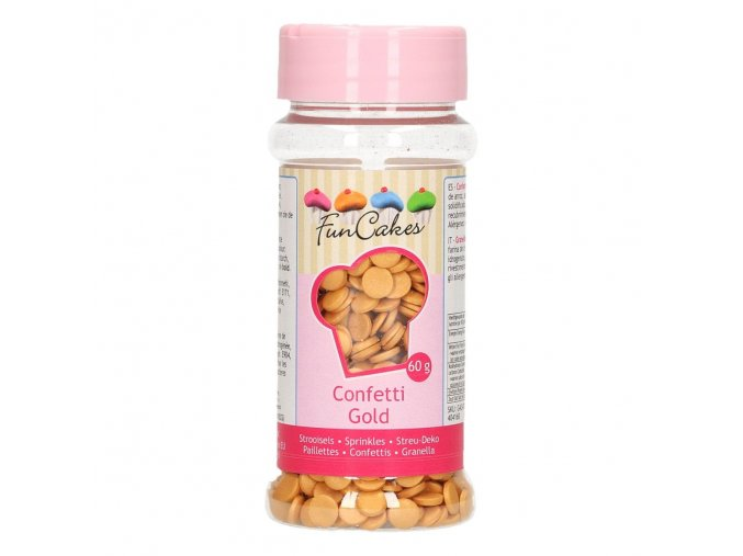 funcakes cukrove konfety metalicke zlate 60 g