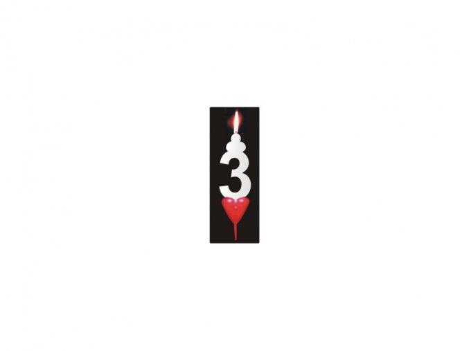 Dortová svíčka se srdíčkem - číslice 3