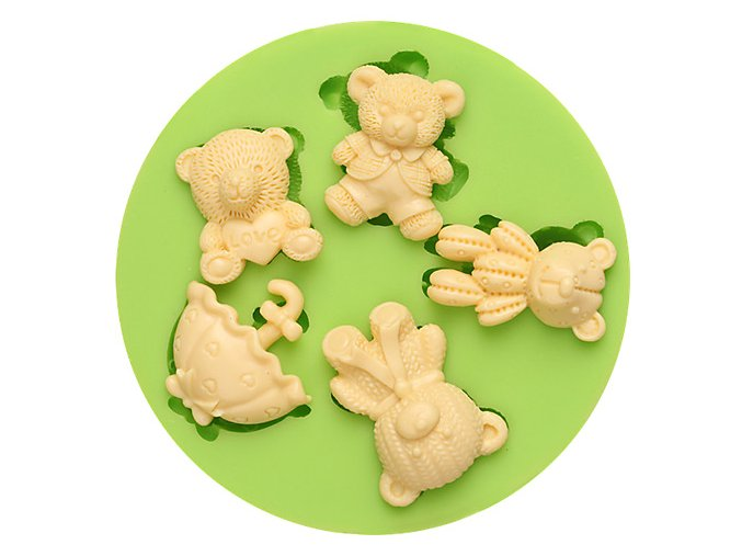 7ES 0013 LOVE Teddy Bears Umbrella Fondant Silicone Molds for cake decorating
