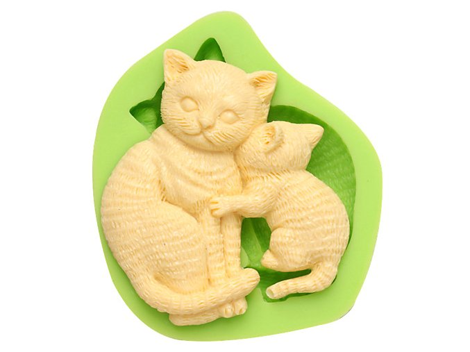 7ES 0049 Animal Themed Kiss Cats Silicone Molds Fondant Mould for cake decorating