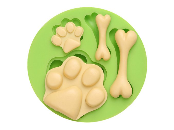 7ES 0056 Dog Footprints and Bones Silicone Molds Fondant Mould for cake decorating