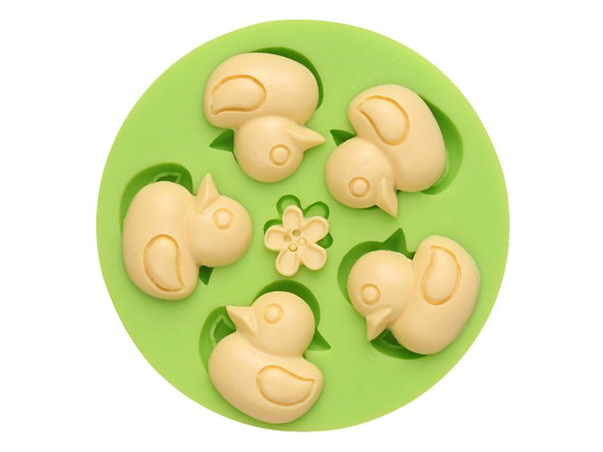 7ES 0302 Five Little Duck Round Silicone Molds Fondant Mould for cake decorating