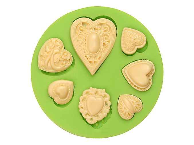 ES 1521 7 Holes Love hearts jewel shape round Silicone Molds for Fondant Cake Decorating