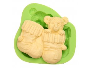 ES 1108 Baby Teddy Bear and Sock Silicone Molds