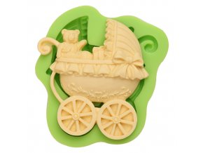 ES 1203 Baroque style baby teddy bear carriage Silicone Molds