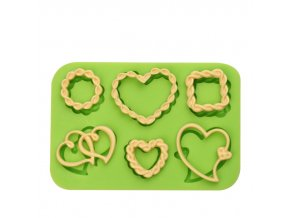 ES 1524 6 Holes Love hearts Silicone Molds for Fondant Cake Decorating
