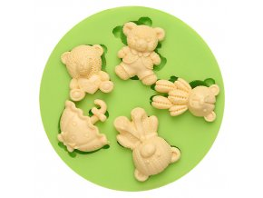 7ES 0013 LOVE Teddy Bears Umbrella Fondant Silicone Molds for cake decorating