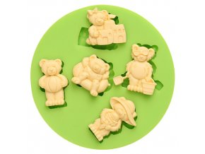7ES 0014 Five Cool Teddy Bears Fondant Silicone Molds for cake decorating