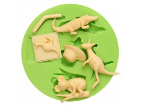 7ES 0046 Animal Themed Crocodile Kangaroo Koala Silicone Molds Fondant Mould for cake decorating