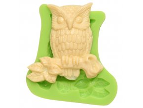 7ES 0105 Animal Mould Owl Large Jeweled Fondant Silicone Molds for cake decorating