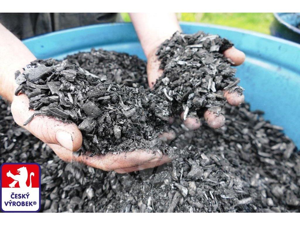 PRAuhel tridena zrnitost biouhel drevene uhli O3