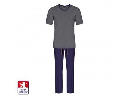 Pyjamo set long grey blue O3