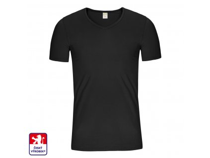 SLim V shirt black front O3
