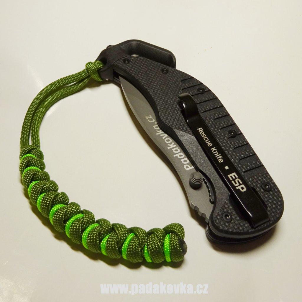 PARACORD přívěsek tmavě neon zelený
