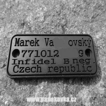 ID gumový štítek ČERNÝ
