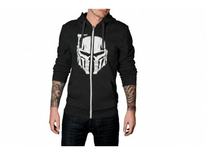 mockup of a man wearing a heathered full zip hoodie in a studio 3579 el1 min