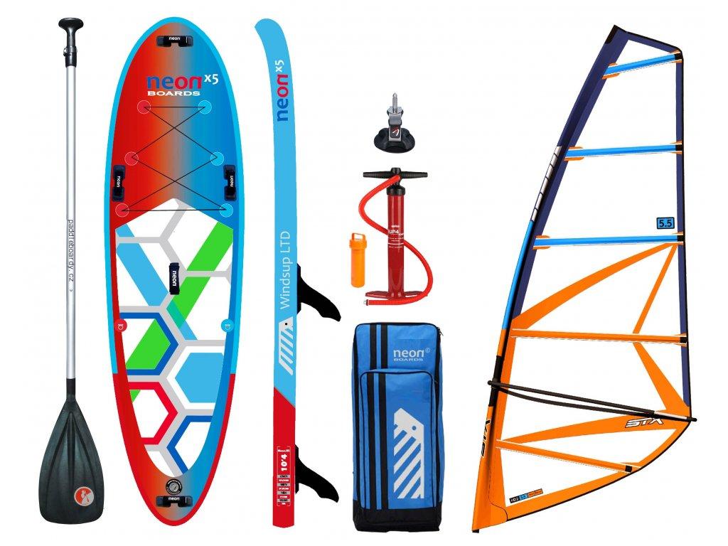 skluzový nafukovací paddleboard Neon X5 Windsup LTD 10'4″x34″x6″ komplet s STX oplachtěním 5.0-6.5 m2
