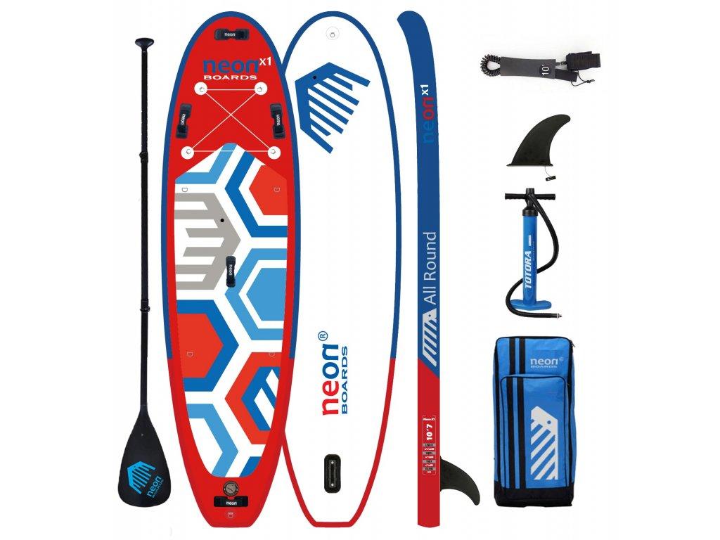 """Nafukovací paddleboard Neon X1 red MSL - All Round 10'2"""" nebo 10'7""""x34""""x6"""" - komplet s pádlem"""