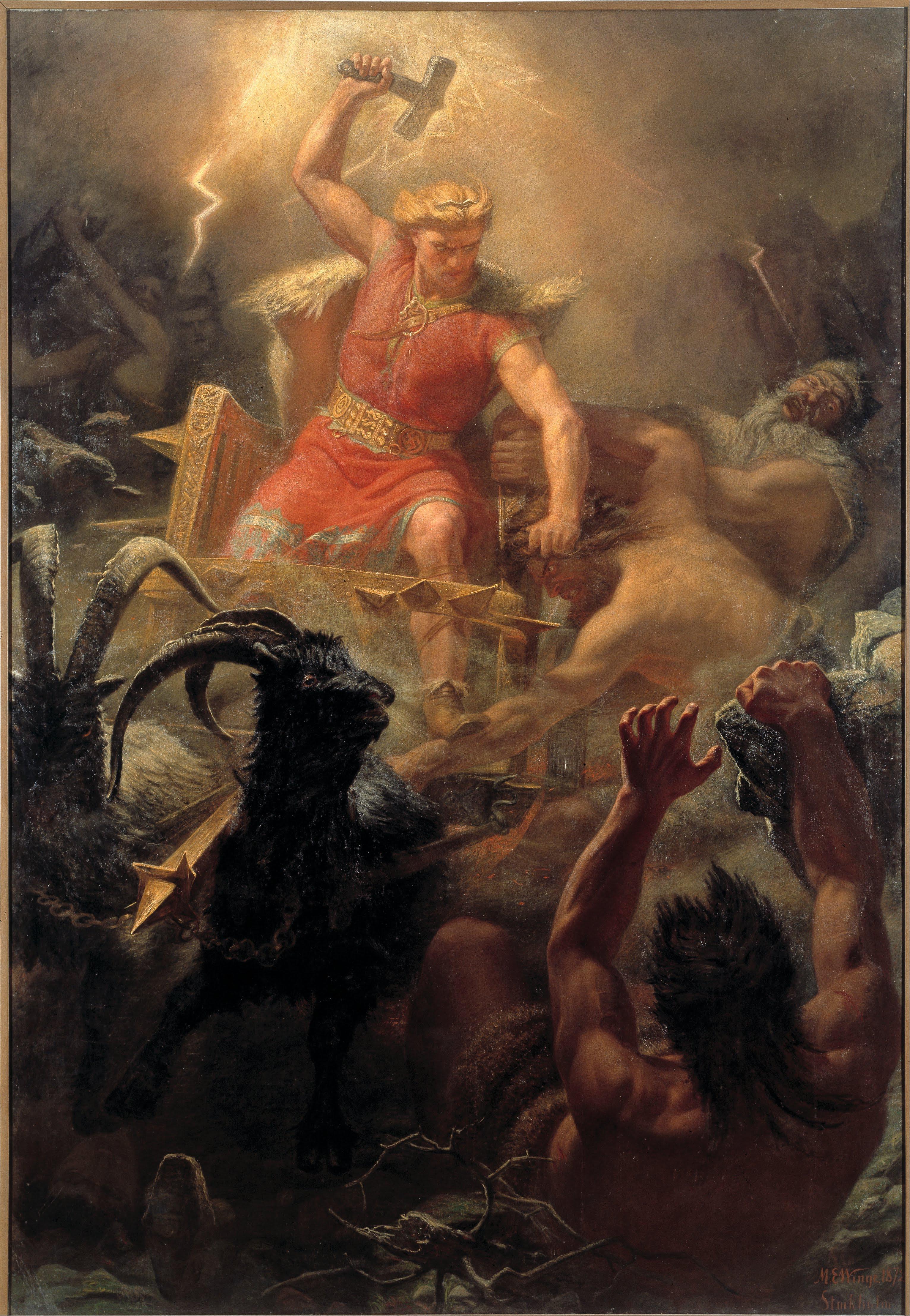 Vikingský a skandinávský bůh hromu Thor. Obraz Eskil Mårten. PAGANIA.CZ - pohanský obchod