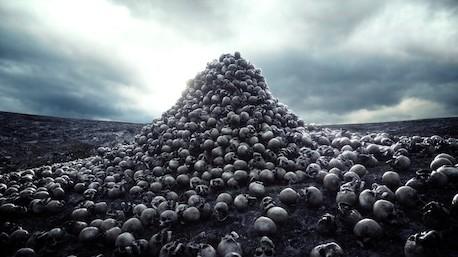 Lebky mrtvých nepřátel. Pyramida z lebek. Rituální kult smrti. PAGANIA.CZ - pohanský obchod
