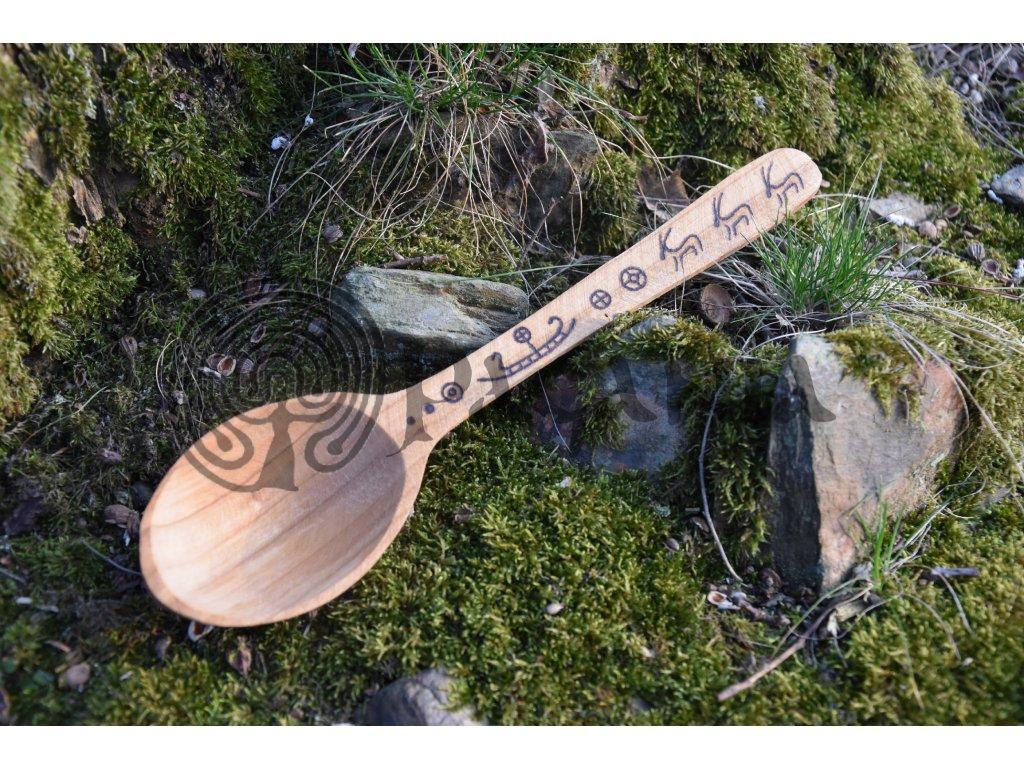 Vikingská dřevěná lžíce ručně zdobená Enya
