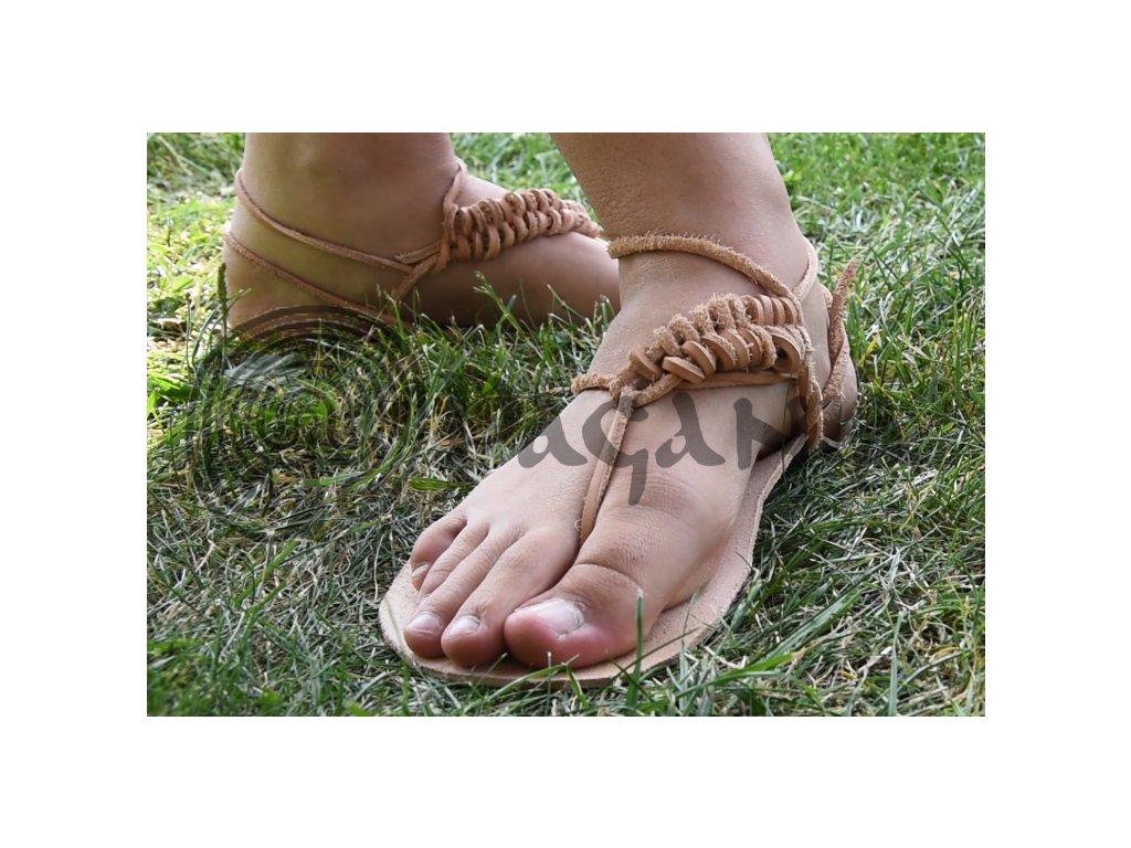 Kožené barefoot přírodní boty a sandály