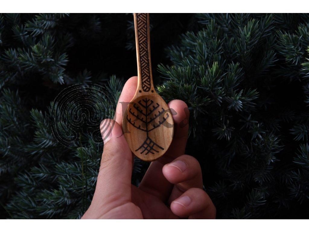 Vikingská dřevěná lžíce lžička ručně zdobená Eitri