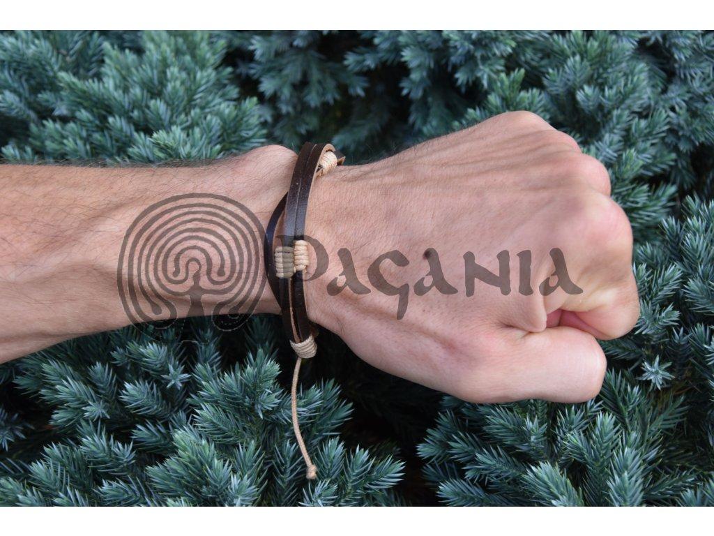 Lehký slovanský kožený náramek Siva