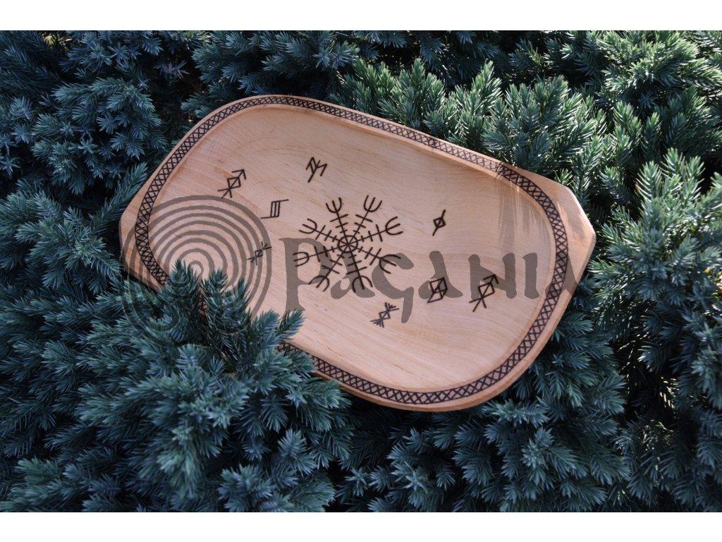 Vikingská miska dřevěná ručně zdobená Aegi