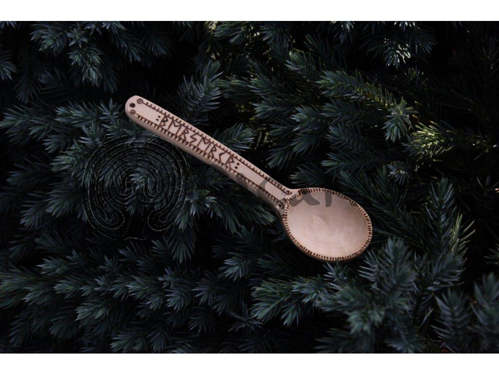 Vikingská dřevěná lžička lžíce ručně zdobená Berserker