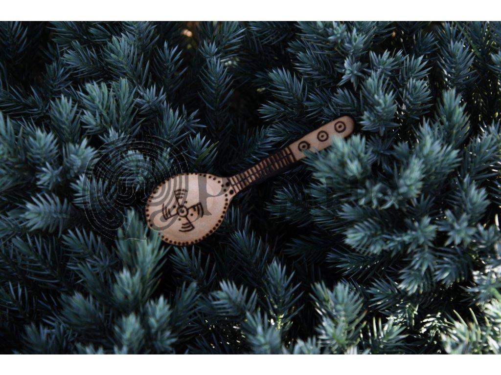 Vikingská dřevěná lžíce lžička ručně zdobená Fyrkat