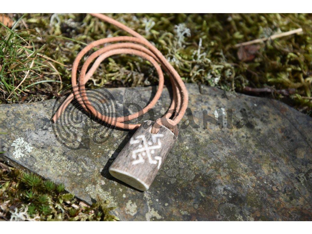 Vikingský ochranný amulet z paroží ručně rytý Sol