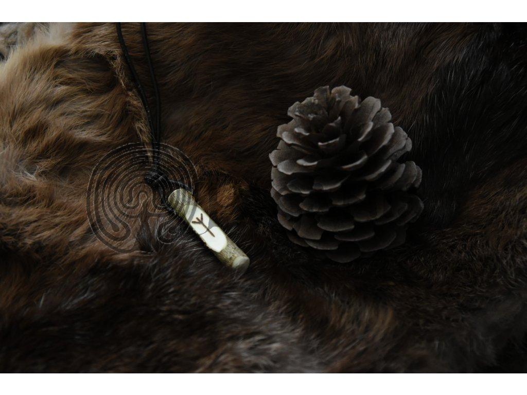 Amulet se severským vikingským symbolem. Runa ochrany Algiz.