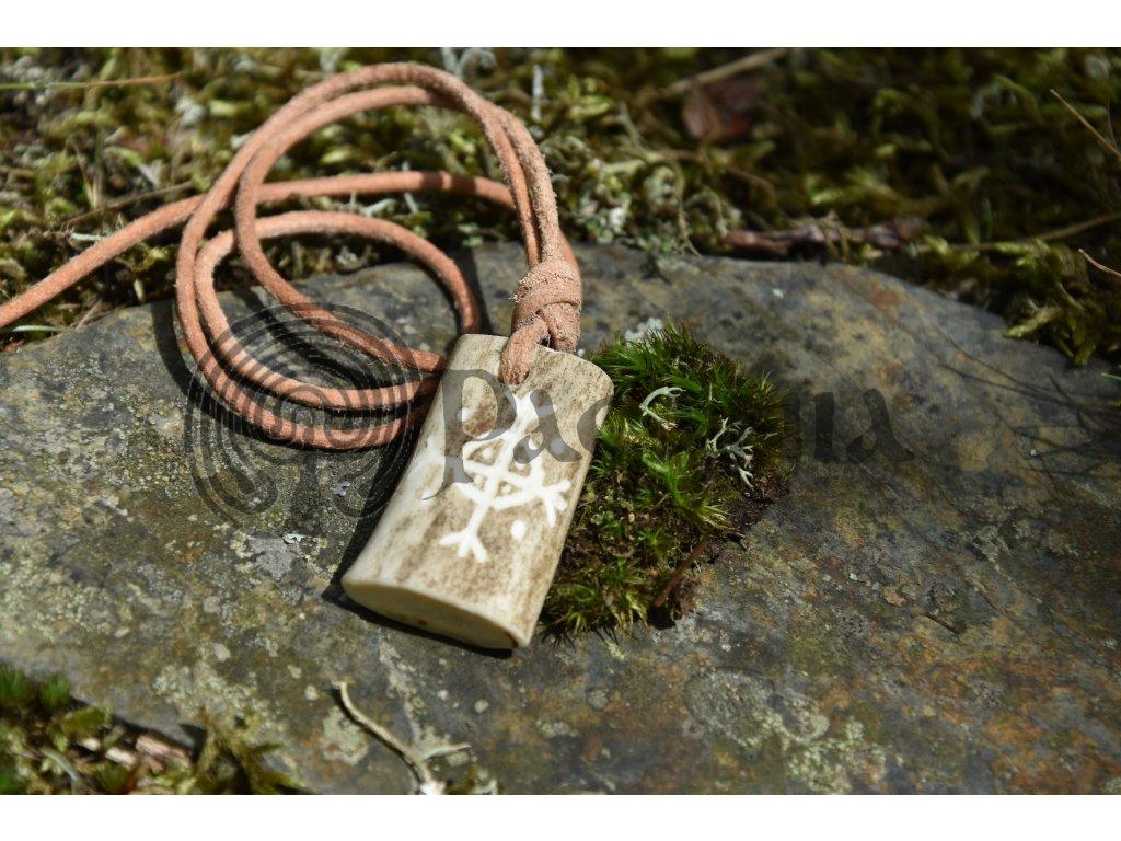 Vikingský ochranný amulet z paroží ručně rytý Algar
