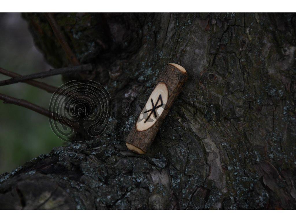 Vikingský amulet ze dřeva mladého dubu zdobený ručním výpalem se symbolem tzv. bind runes - vázaných runových znaků / sigilů. Určeno pro germány a vikingy. Použitelné pro období stěhování národů.  Význam: láska