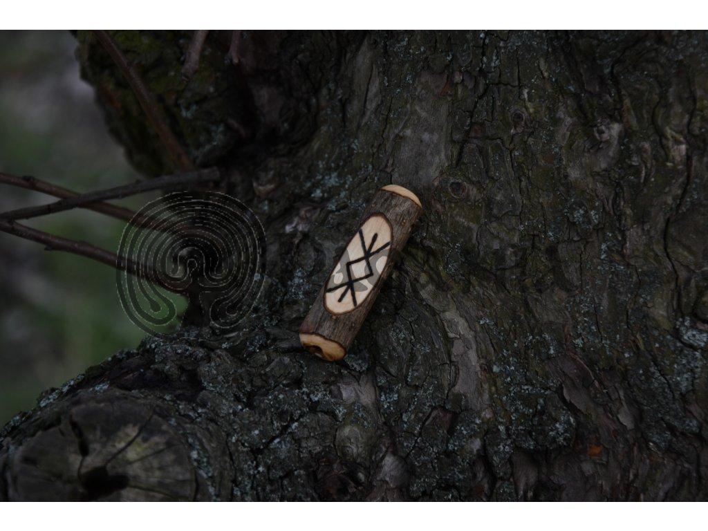 Vikingský amulet ze dřeva mladého dubu zdobený ručním výpalem se symbolem tzv. bind runes - vázaných runových znaků / sigilů. Určeno pro germány a vikingy. Použitelné pro období stěhování národů.  Význam: Vatan, severský strom stvoření, ženský princip