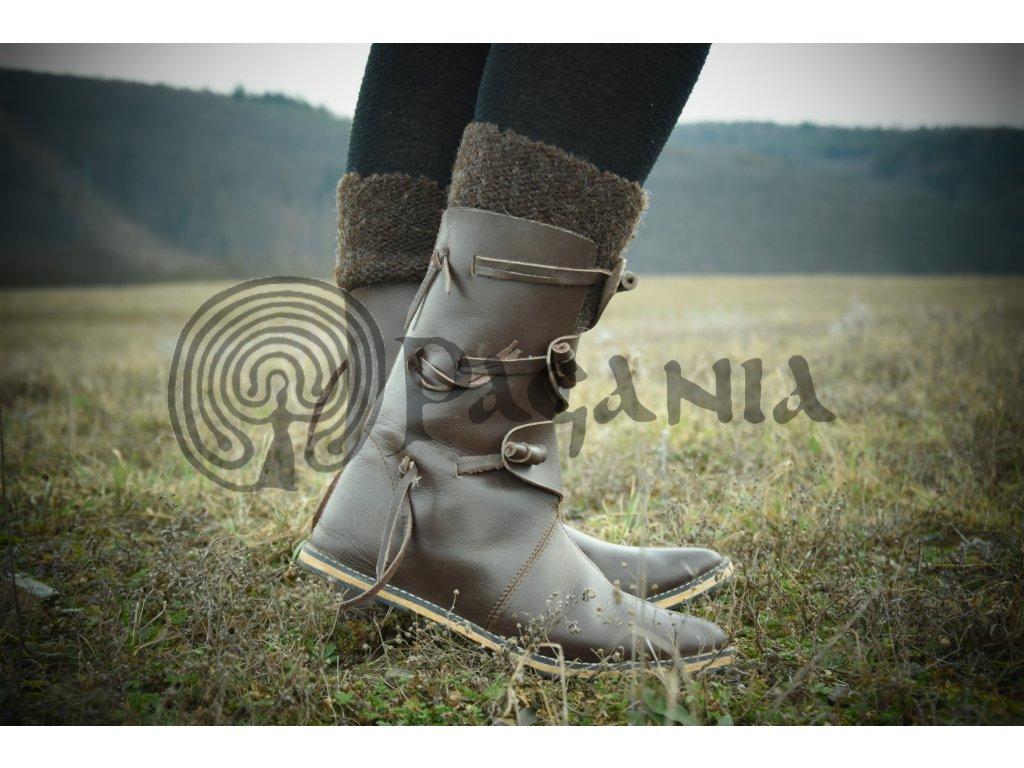 Vikingské vysoké boty ručně vyrobené z hovězí kůže. Určeno pro vikingy a  germány. Použitelné 4264054cdc